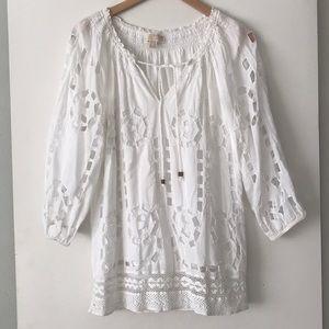Michael Kors White Eyelet Long Sleeve Cotton Top